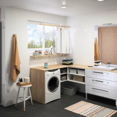 Collection Zoé, Largeur 90 cm, Blanc brillant, 3 tiroirs, Vasque semi-encastrée, Panneaux sur mesure chêne san remo