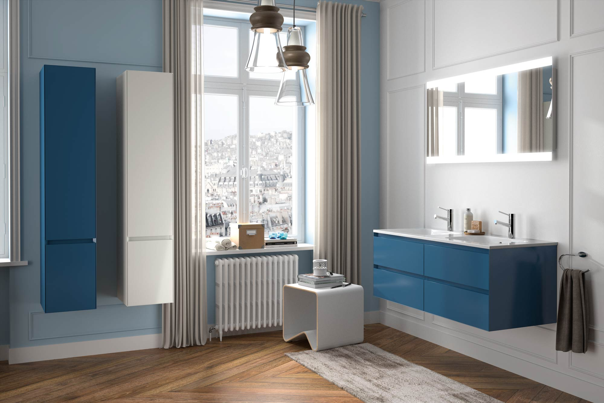 Collection Elite, Largeur 120 cm, Bleu gris, Plan en marbre reconstitué brillant