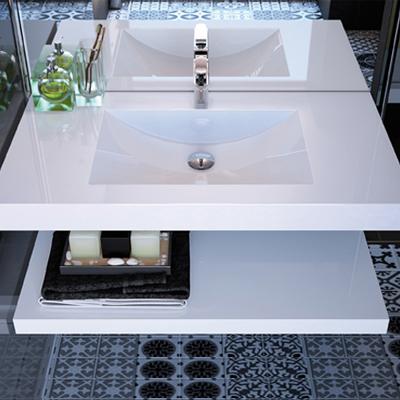 Collection Extenso, Largeur 95 cm, Blanc brillant, Plan en marbre reconstitué Durocoat