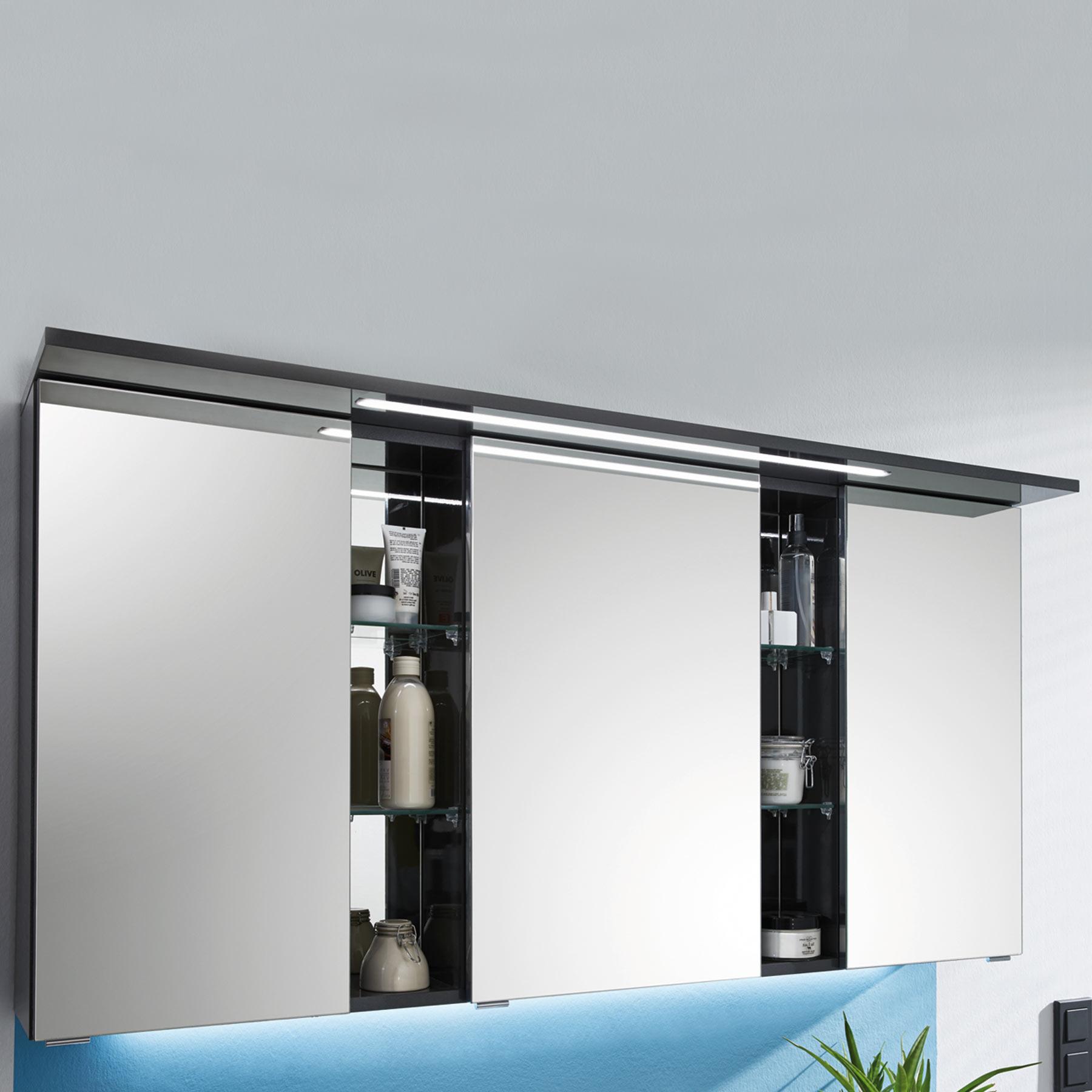 Armoires de toilette meubles de salle de bains - Armoire de toilette 3 portes miroir eclairage allibert ...